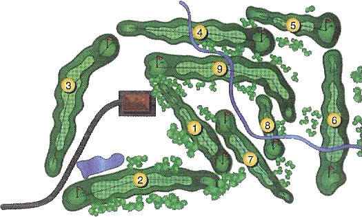 The layout of Cedars Edge Golf Course